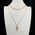 WT N666 Newest Style 2 Layer Choker necklace natural jade rosary chain necklace arrowhead crystal pendant