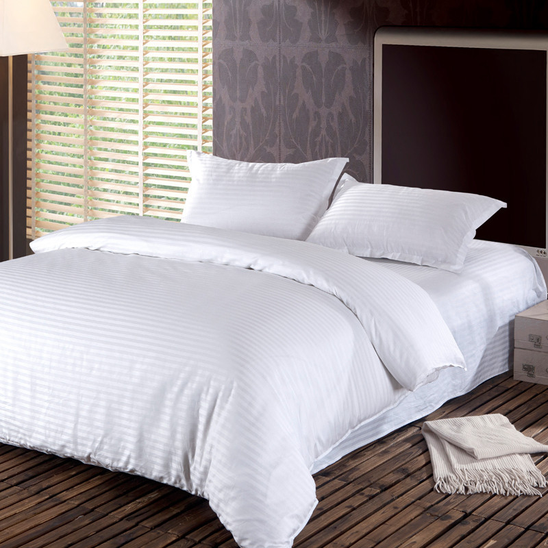 Hotel cotton satin stripe comforter bedding set full plain for Housse de duvet
