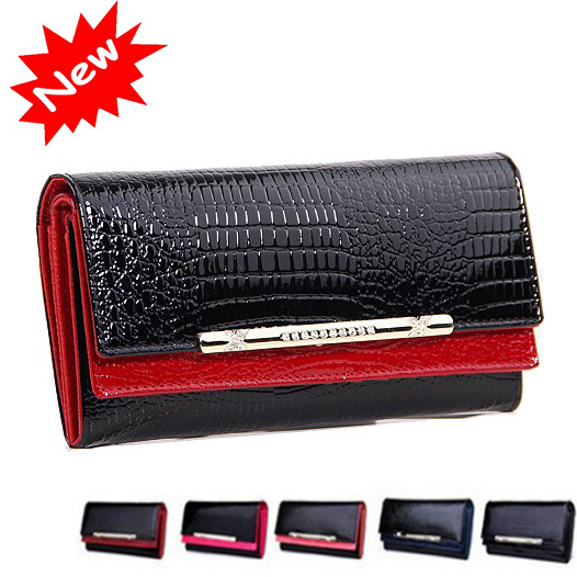2014 New Genuine Leather Ladies Wallet Crocodile Pattern Long Design Luxury Retro Money Clips Credit Card Clutch Purse Women