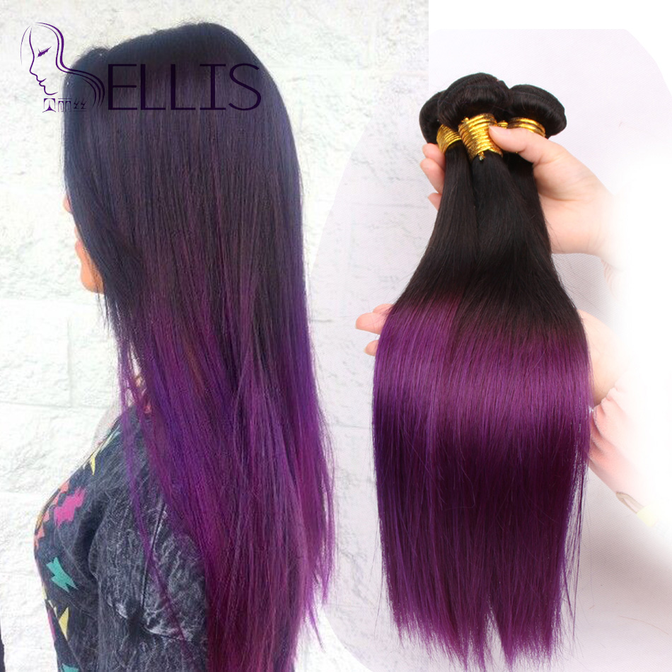 ombre purple hair extensions Ombre Purple Brazilian Straight hair 4Bundle Deals Ombre Virgin Hair purple hair weave 10-24inch(China (Mainland))