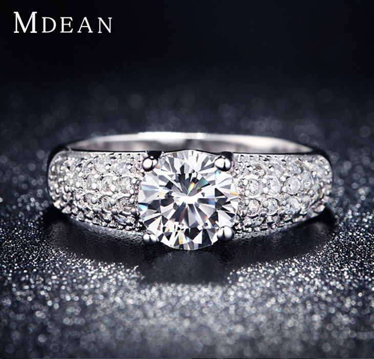 MDEAN White Gold Filled Rings For Women Wedding Jewelry Bijoux zirconia vintage Accessories Engagement Bague Bijouterie