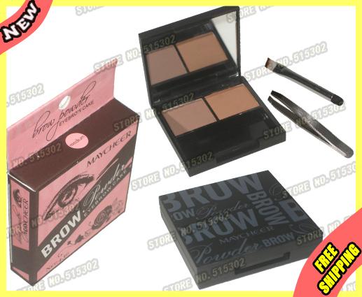 Cosmetic Makeup 2 Color Eyebrow Compact Powder Cake PeachPuff&SandyBrown 3033#1 Eye brow Wholesale(Concealer Blush Eyeliner 1pcs(China (Mainland))