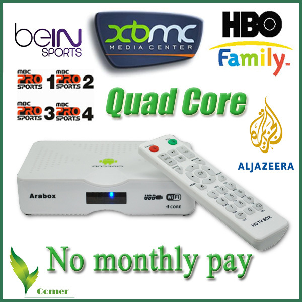 Best Arabic IPTV Box with 450 Free Arabic channels Bein sports/ MBC/OSN for Android 4.4 Arabic channels IP TV Box(China (Mainland))