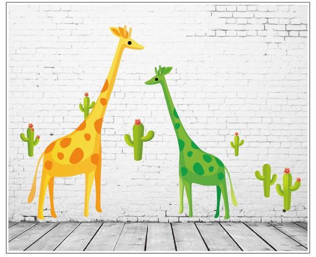 Мультфильм жираф стены стикеры для детей номеров 7035 декор стены съемный пвх наклейки на стены декоративные DIY
