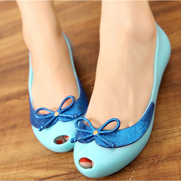 2015 Plastic Peep Toe Bow Jelly Shoes Candy Color Flat Women Sandal(China (Mainland))