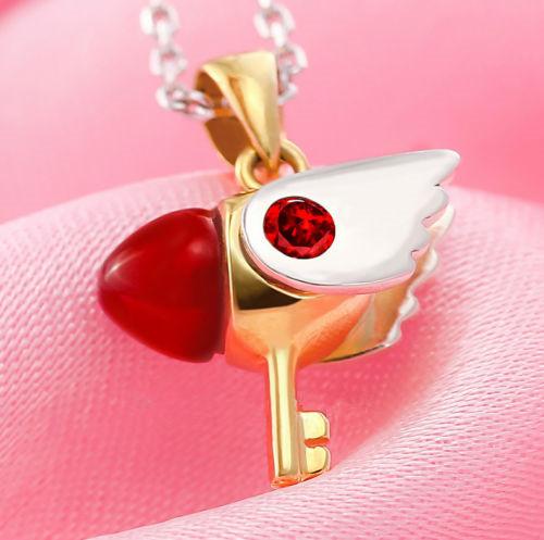 925 Silver Card Captor Sakura Kinomoto Sakura Star Wand Key Necklace Pendant Chain Cosplay(China (Mainland))