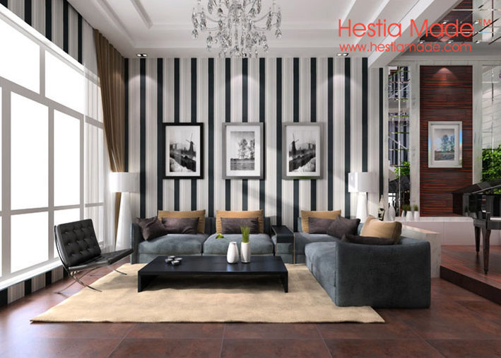 Non woven behang moderne zwart wit grijs strips behang voor de woonkamer muur in 1 selecteer uw - Deco woonkamer aan de muur wit ...