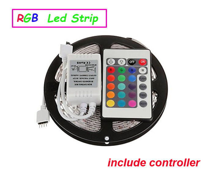3528 led strip 5M/roll 60led/M led strips SMD 3528 DC12V safe led bar light,24Key IR remote controller(only for RGB) RoHS CE(China (Mainland))