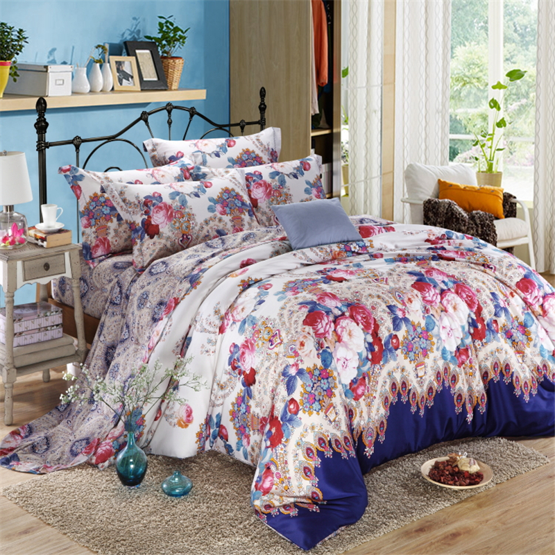Unique 100 Long Staple Cotton Comforter Bedding Set Queen King Size Floral Bed Linen Set With