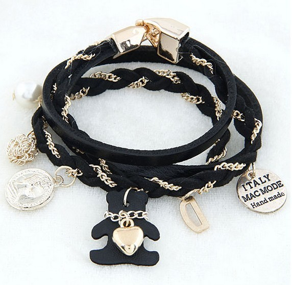 Teddy Bear wild multi-element multi-layer leather bracelet fashion jewelry(China (Mainland))