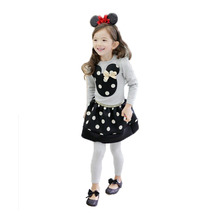 2014 Spring and autumn Bowknot is mickey head black red dot skirt suits for2-6yesra old childrenATZ115