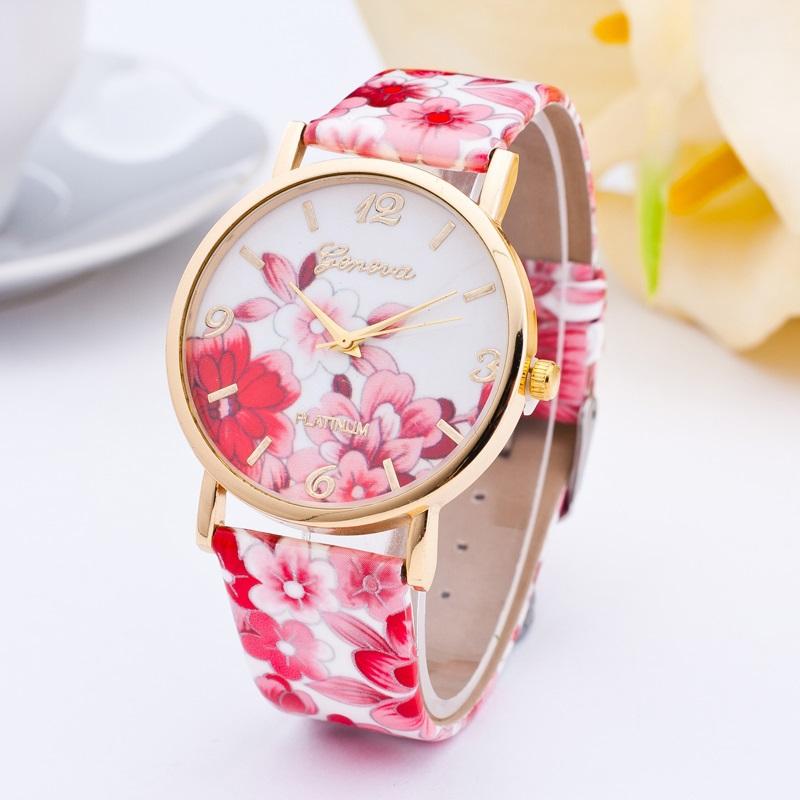 Гаджет  1 pc HOT Classic Geneva Womens Watches Flower Leather Analog Quartz Vogue WristWatch None Ювелирные изделия и часы