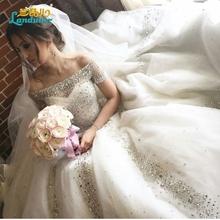 Buy Luxury beaded wedding dresses 2017 ball gown boat neck wedding gowns Crystals chapel long train vestido de noiva plus size for $517.08 in AliExpress store