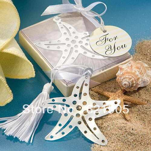 Free shipping (50pcs)  Stainless Steel Starfish Bookmark for Wedding Gifts and Wedding Favors Wholesale and retail