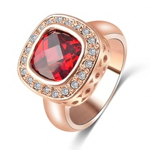 LZESHINE Brand Ruby Diamond Retro Noble Ladies Rings Real 18K Rose Gold Plated Elegant Simulated Ring Jewelry ITL-RI0104