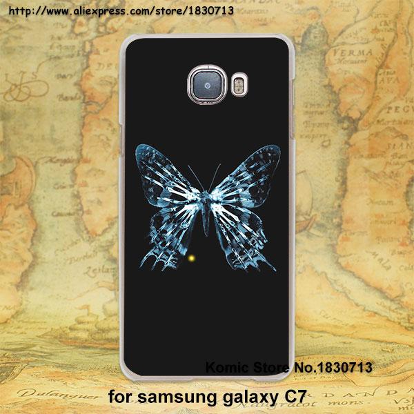 fringe Black Butterfly design transparent clear hard case cover for Samsung galaxy j7 j5 j3 e7 e5 c7 c5(China (Mainland))