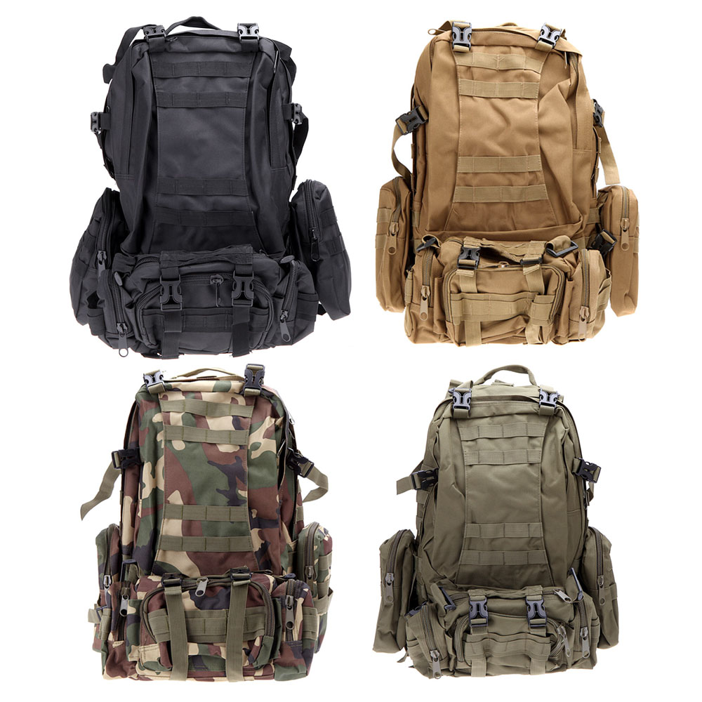 Multifunction Military Rucksack Outdoor Camping Hiking Tactical Backpack Travel Sports Bag Black/Army green/Earth/Camouflage - Guangzhou Xiao Co., Ltd. store