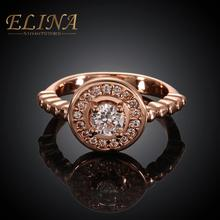 24K Gold Plated 2015 New Fashion Jewelry Nickle Antiallergic statement wedding Party ring for Women Great Gift(China (Mainland))