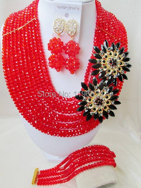 Luxury African Wedding Set Nigerian Crystal Beads necklace Fashion perfect India Women Bridal Jewelry Set Free Shipping C-297<br><br>Aliexpress