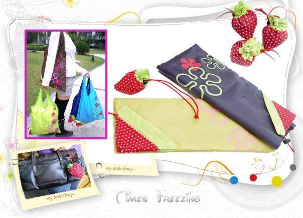 Wholesale 12pcs/lot Cute Strawberry Reusable Compact Foldable Durable Grocery Shopping Shoulder Tote Bag Case