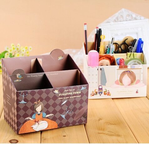 Cute Makeup Cosmetic Stationery DIY Paper Board Storage Box Desk Decor Organizer Y101(China (Mainland))