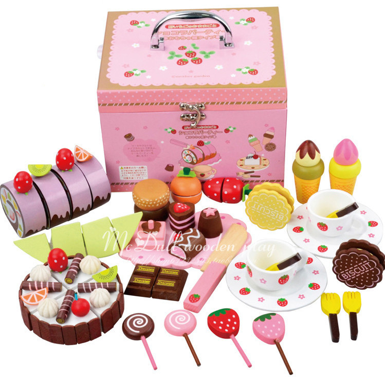 Free Shipping!!Hot Sale Mother Garden Wooden Chocolate Cake Mix Set Wooden Kitchen Toys Play House Toys