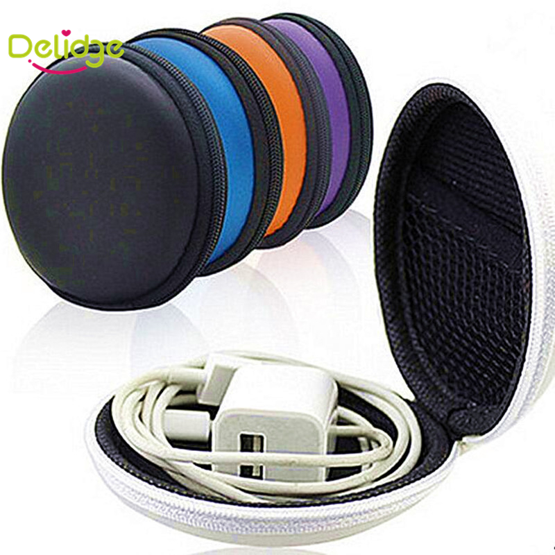 1 pcs Round Shape Headset Storage Bag Nylon With Imitation Leather Candy Color In-Ear Earphones Package Box Cable Protective Box(China (Mainland))