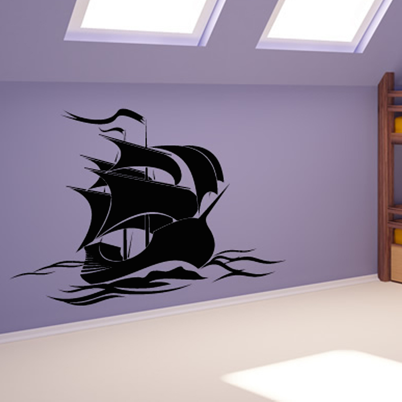 0ne piece pirate ship wall sticker cartoon kids bedroom