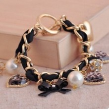 Blue Kiss B36 The 2015 Fashion Hot Sell Heart Simulated Pearl Crystal Bracelet For Women(China (Mainland))