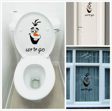 "Olaf "" let it go "" Funny Novelty Toilet Seat/Sticker/Decal Fashion 3D Wall Stikcers On The Wall Home Decoration GYH(China (Mainland))"