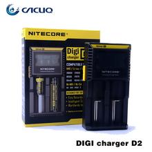 Almacén de rusia Original Nitecore Cargador Nitecore D2 Digcharger LCD Cargador de Batería Para 26650 18650 18350 16340 14500 10440