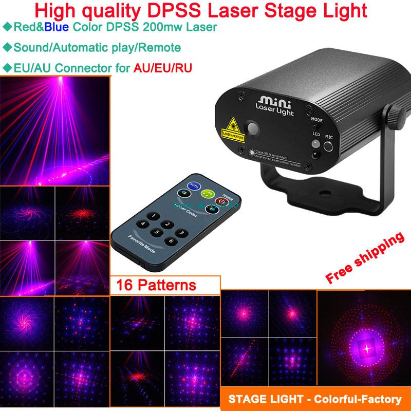 mini R 16 patterns blue laser Projector remote DJ effect lighting Light dance Disco bar Xmas Party Stage Lights Show B81 free<br><br>Aliexpress