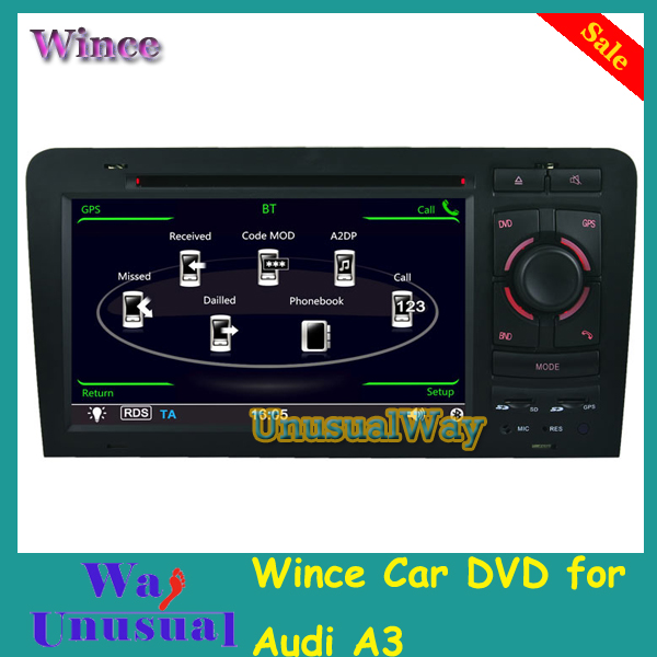 Free Shipping 2015 Top Auto Parts Wince Car DVD Radio For Audi A3 2003 2004 2005 2006 2007 2008 2011 With GPS Navi BT Free Map(China (Mainland))