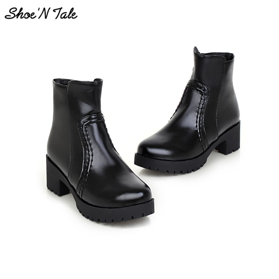 Фотография New Arrive Women Winter Boots 2015 Thick Heel Ankle Boots Fashion Snow  Round Toe Martin boots Soft Leather Chelsea Boots
