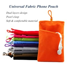 Universal Fabric Phone Pouch Case Soft Velvet Smartphone Pocket Bag 5.5'' 5.0'' 4.3'' for iPhone 7 6S 6 Plus SE 5S 5 5C 4S 4(China (Mainland))