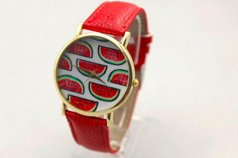 Freeshipping 100pc/lot fashion watermelon design drawing face geneva leather watches,pu leather band,precise quartz movement<br>