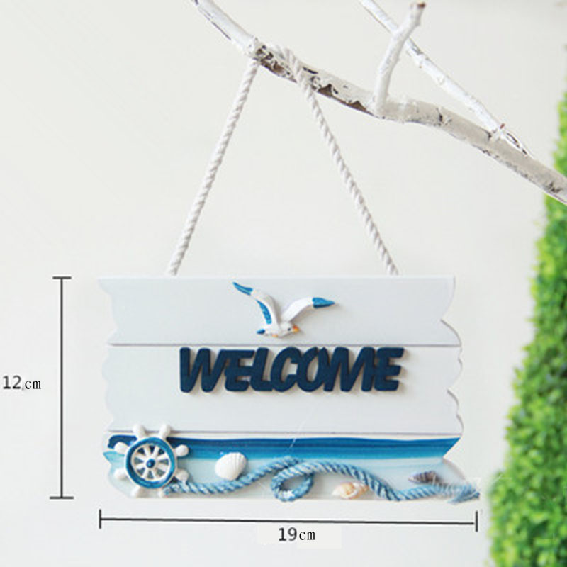 Mediterranean style welcome tag Wooden office <font><b>home</b></font> <font><b>decorative</b></font> listed tag Helmsman and anchor wood hanging tag