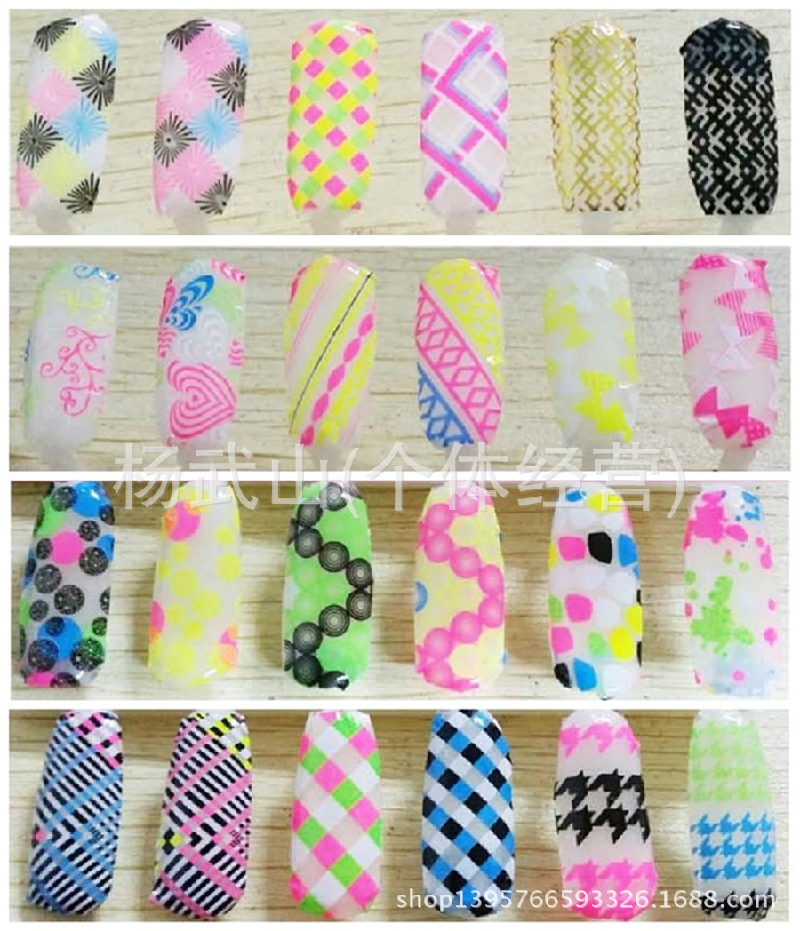 DIY nail stickers harajuku style color 3d nails art stickers back rubber decals series fluorescent color LY021- 040(China (Mainland))