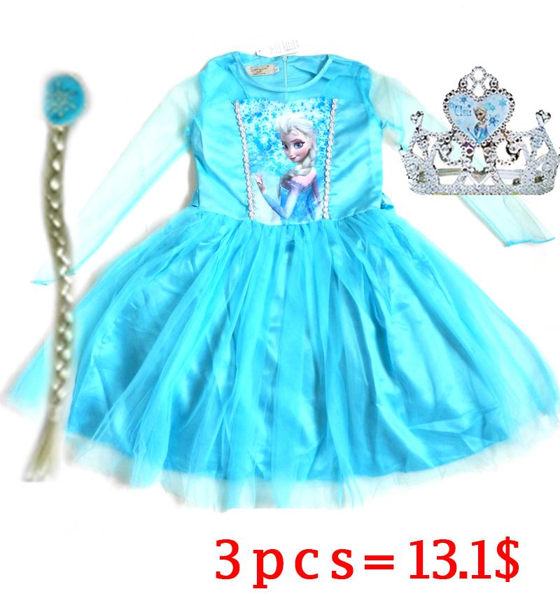 Elsa Dress Custom made Movie Cosplay Dress Summer Girl Dress Frozen Elsa Costume for girls whith (Dress Crow and Braid)(China (Mainland))