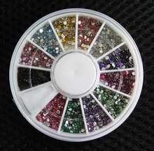 2015 High Quality 2000 1.5mm Assorted Colors Round Glitter Nail Art Decorations Wheel Rhinestones