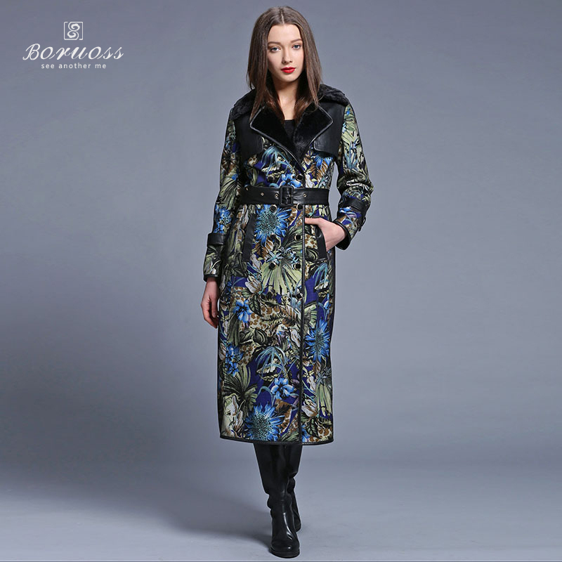 2015 New Attractive Spring Printed trench coat for women Fashion Imitation Fur Coat Long Belt trench coat Spring Boruoss-y3216(China (Mainland))