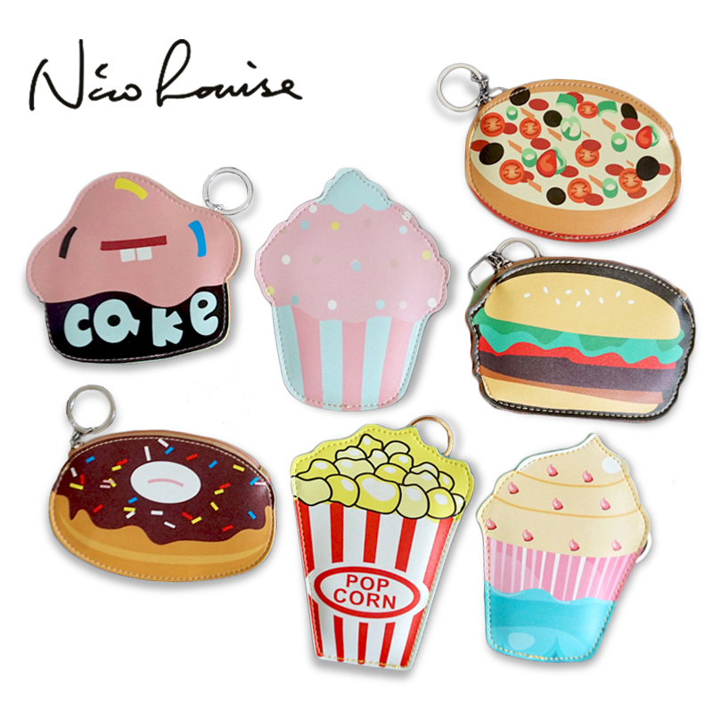2016 creative cute cartoon coin purse key chain for girls leather icecream cake popcorn kids zipper - Wholesale Cake Decorating Supplies