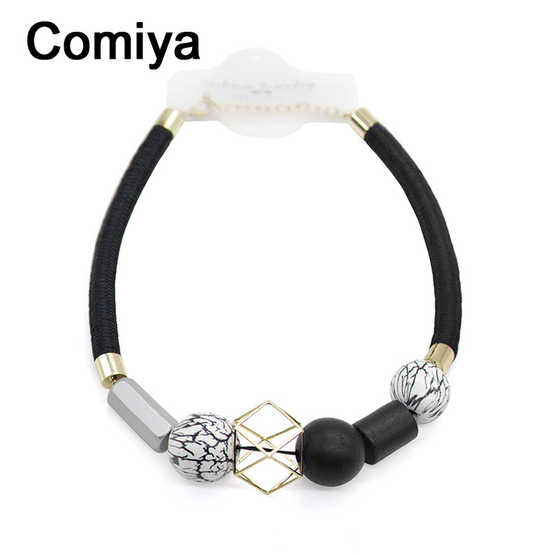 Comiya Ethnic Bohemian black rope Necklace for Women geometric Vintage choker Resin Wood Beads Necklaces & Pendant Jewelry 2016(China (Mainland))