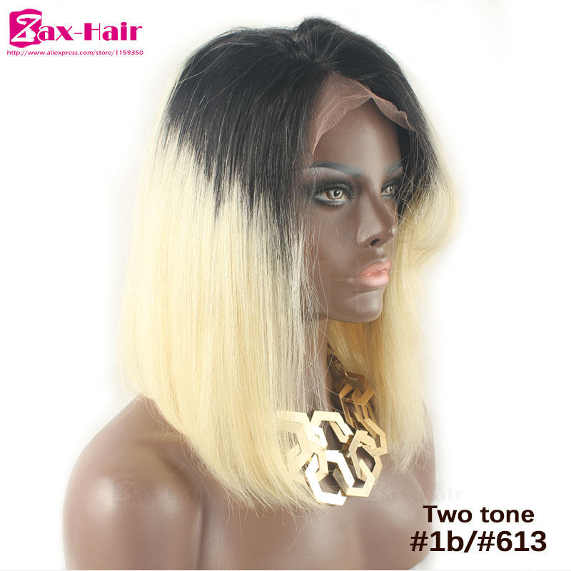 Short Bob Ombre Glueless Full Lace Human Hair Wigs 1b/#613 Blonde Wig #27 Lace Front Wig Two Tone Ombre Remy Human Hair Lace Wig