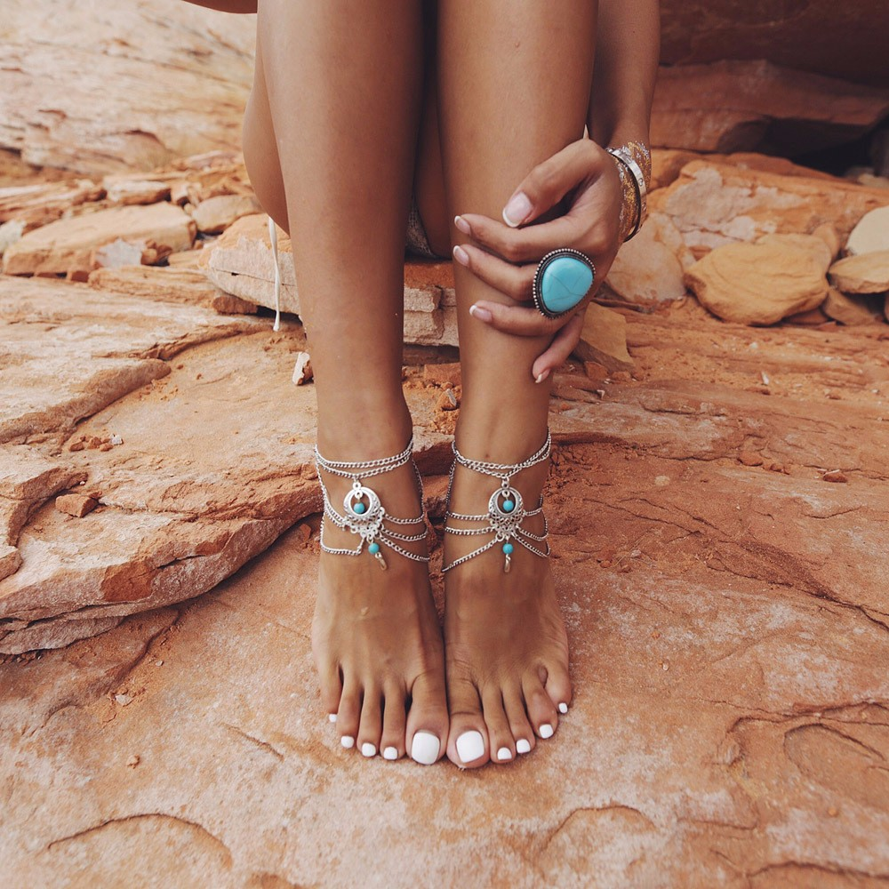 Bohemia Punk Retro Multi Tassel Turquoise Anklets All-match Fashion Silver Jewelry For Women Free Shipping