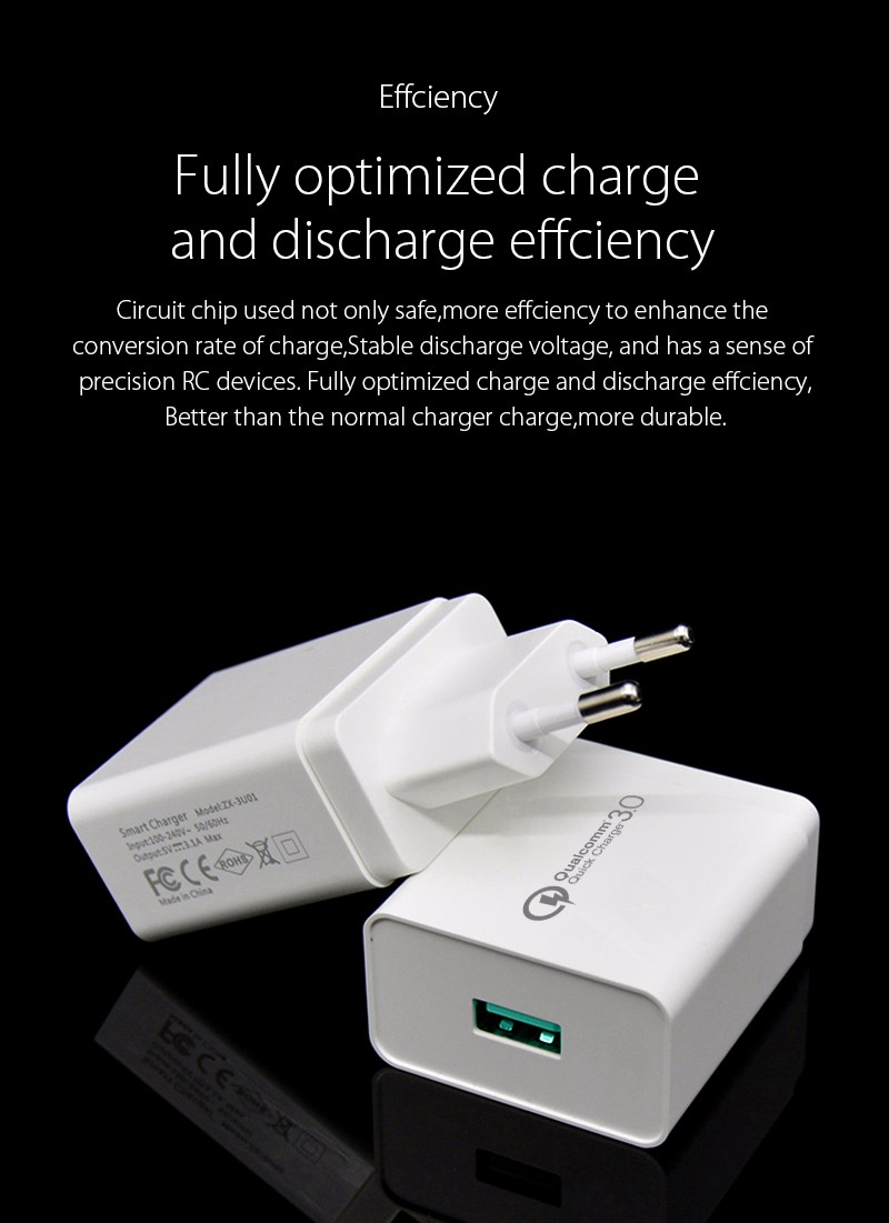 For Qualcomm Quick Charge 3.0 18W],Quick Charge 3.0 18W Travel Wall Fast  Charger  EU US Plug For iPhone iPad Samsung LG Phone