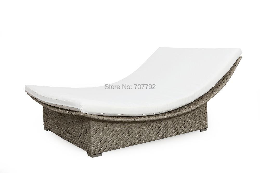 2016 Elegant design outdoor furniture rattan lounger double sofa bed(China (Mainland))