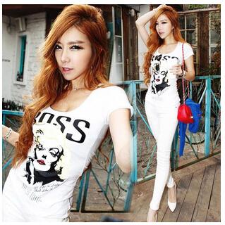 Short-sleeve t-shirt cartoon picture 2015 Summer New Women Slim Sexy nightclub Was ThinO-Neck Casual Tops Girl Brand Clothing(China (Mainland))