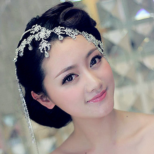 Wholesale Handmade Crystal Vintage Headbands For Women Wedding Hair Accessories Elegant Banquet Hair Jewelry Silver Head Chain(China (Mainland))