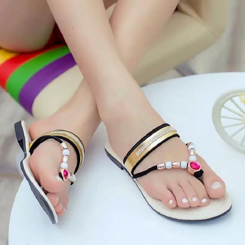 Colorful Women Flip Flops Slides Beading Brand Flat Sandals Summer Shoes For Women Sandals Jelly Black Sandalen(China (Mainland))